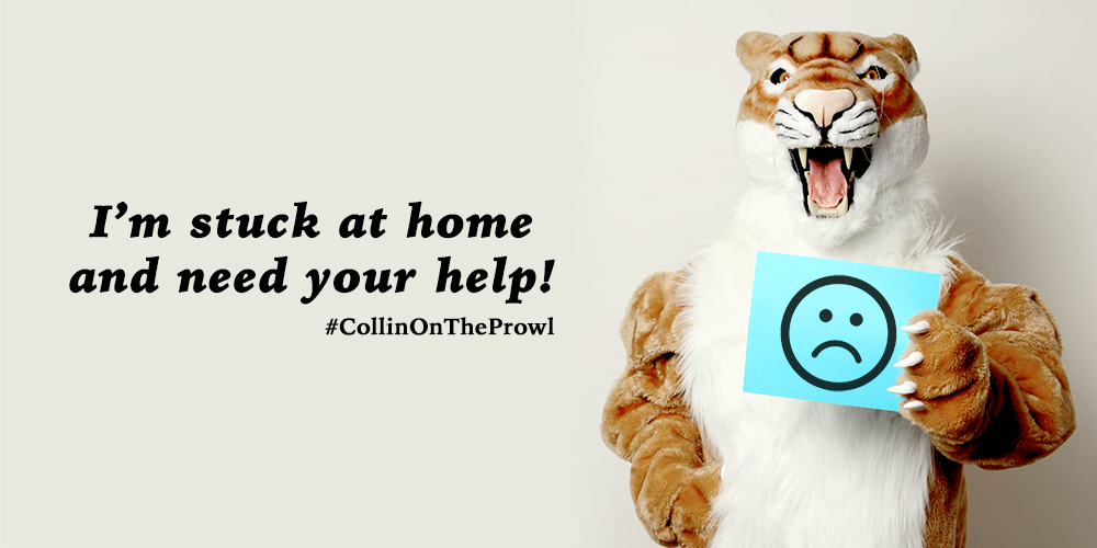Photo of Collin Cougar holding sign