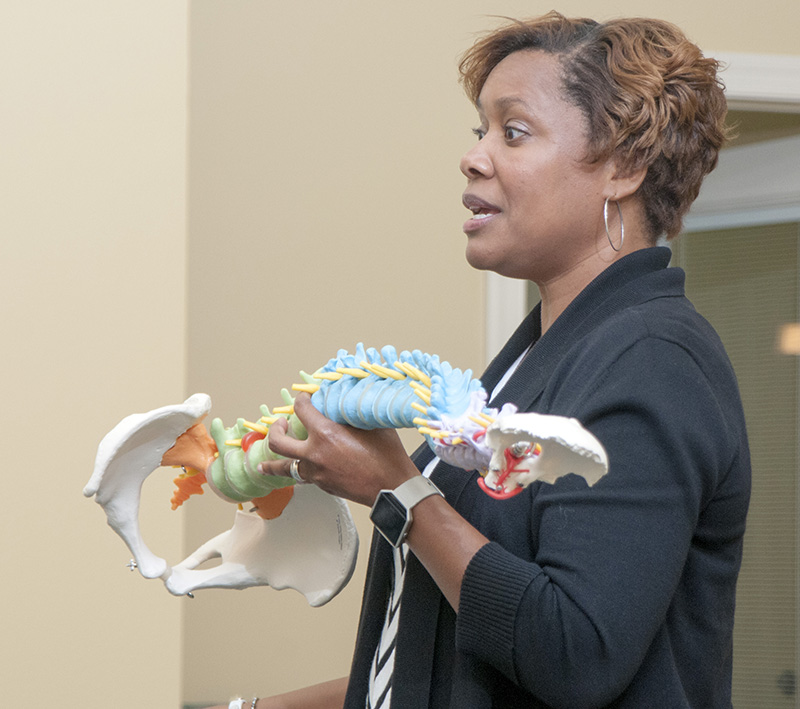 Physical Education Professor Dr. Traci Ramsey discusses proper posture.